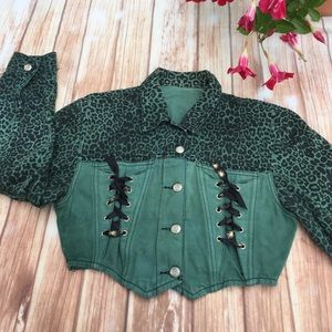 Green Leopard denim overdyed diy jacket. Large